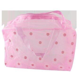 กระเป๋าพลาสติกแบบมีซิปรูด สำหรับใส่ของในห้องน้ำ (สีชมพู)