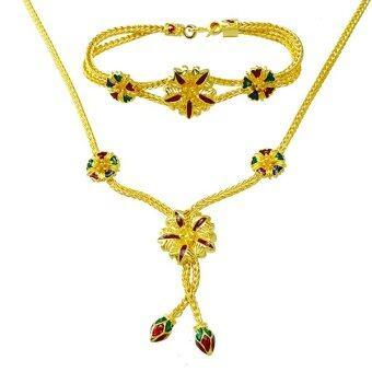 Tfine ชุดสร้อยสังวาลย์สร้อยข้อมือดอกไม้ลงสีชุบทอง