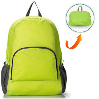 RICHCOCO กระเป๋าเป้ ไนล่อนกันน้ำ พับเก็บได้ สีเขียว
