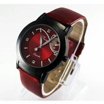 หญิงสาวหญิงแฟชั่นหรูนาฬิกาข้อมือฝังเพชรสวยผลึกสีแดง