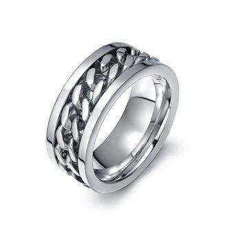ขายส่งขายส่งใหม่ เครื่องเพชรพลอย การหมุนโซ่เหล็ก แหวนไทเทเนียมสตีล ring สำหรับผู้ชาย (Size:US 7) - intl