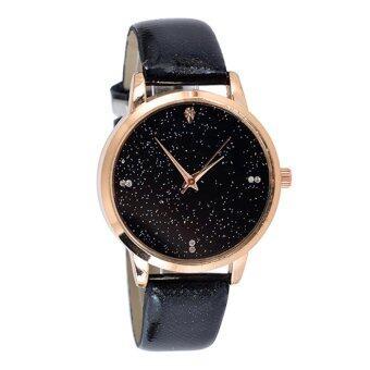 KPshop นาฬิกาผู้หญิงสายหนัง นาฬิกาข้อมือแฟชั่น นาฬิกาสำหรับผู้หญิง รุ่น LC-009 (สีดำ)