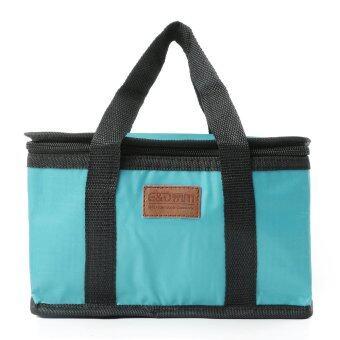 ฉนวนกันน้ำร้อนกระติกเก็บกระเป๋าเตรียมกล่องอาหารกลางวันส่วนใหญ่พับสีน้ำเงิน