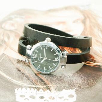 Kimio นาฬิกาข้อมือผู้หญิงสายหนังแท้พัน 2 ทบ รุ่น KM-545-BK-BK สีดำ