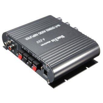 2.1CH ซุปเปอร์เบส 12โวลต์มินิไฮไฟสเตอริโอเครื่องขยายสัญญาณกระตุ้น MP3 สำหรับรถบ้าน (สีดำ)