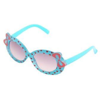 โอ้เด็ก ๆ เด็กแว่นกันแดดแฟชั่นแว่นตากันแดดแว่นตาพลาสติกสาวโบว์สีน้ำเงิน