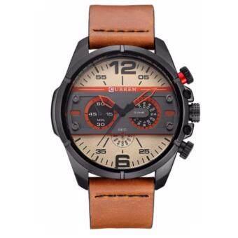 Curren นาฬิกาข้อมือผู้ชาย สายหนังสีน้ำตาล หน้าปัดสีดำ/เบจ รุ่น C8259