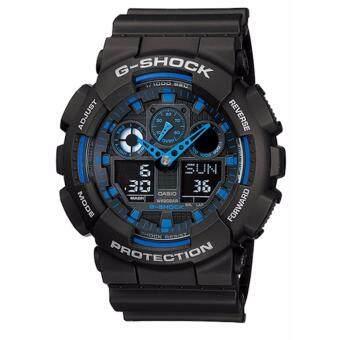 Casio G-Shock นาฬิกาข้อมือผู้ชาย สีดำ/สีน้ำเงิน สายเรซิ่น รุ่น GA-100-1A2