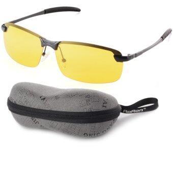 แว่นตาแว่นกันแดดโพลาไรซ์มองในที่มืดคนขับ (สีเหลืองเลนส์+สีดำกรอบ) OS386-SZ
