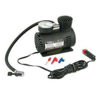 Air Compressor ปั้มลมไฟฟ้าสำหรับรถยนต์ ปั๊มลมติดรถยนต์ ปั๊มเติมลมยาง Air pump 300PSI 12V (สีดำ)