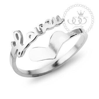 555jewelry เครื่องประดับ ผู้หญิง แหวน สแตนเลสสตีล - แหวนน่ารักลาย I Love U และรูปหัวใจ สี เงิน รุ่น MNC-R693-A