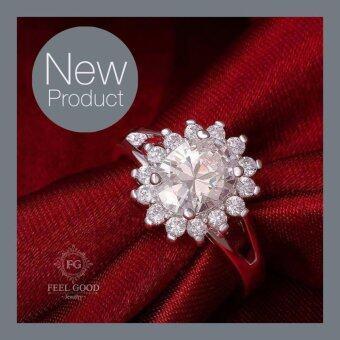 Feel Good Jewelry แหวนเงินแท้ ประดับเพชรสวิส CZ (ขนาด 3 กะรัต) ตัวเรือนสลัก 925 รุ่น FGR145