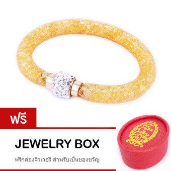 Tips Gallery กำไล ข้อมือ ออสเตรีย คริสตัล สี ทอง รุ่น Wishing Stars Design TBS052 ฟรี Jewelry Box with Golden Ribbon