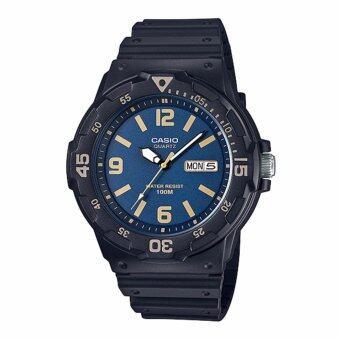 Casio Standard นาฬิกาข้อมือผู้ชาย สายเรซิน รุ่น MRW-200H-2B3VDF (สีดำ/หน้าปัดน้ำเงินทอง)