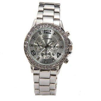 นาฬิกาข้อมือสตรีในวันที่หมอกลงจัดเจนีวาควอทซ์คริสตัลนาฬิกาหรูหญิงสาวเงิน