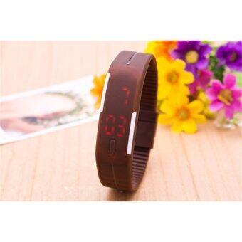 นาฬิกาข้อมือ LED สายเรซิ่น กันน้ำได้ Men LED Sports Bracelet Women Watches Clock Casual Watch Sport Silicone Digital Number Wrist Watches (สีน้ำตาล)