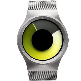 MEGA Concept Unisex Young Simple Fashion Watch Dial Changing Stainless Mesh Watchband แนวคิดหนุ่มสาวง่ายแฟชั่น นาฬิกาข้อมือ สายนาฬิกาข้อมือสแตนเลสตาข่าย รุ่น MG0028 (Silver/Orange)