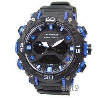 D-ZINER นาฬิกาข้อมือผู้ชาย สายซิลิโคนรุ่น DZ-8073 (ดำ/น้ำเงิน)