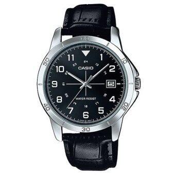 Casio Standard นาฬิกาข้อมือผู้ชาย สายหนัง รุ่น MTP-V008L-1BUDF (หน้าดำ)