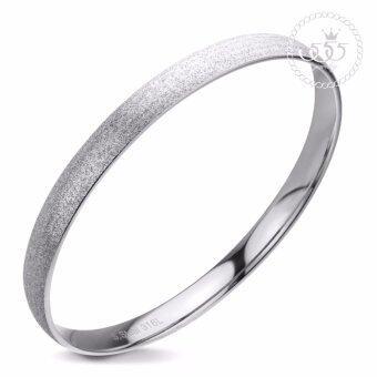 555jewelry กำไลข้อมือวงกลมคลาสสิค Sand dust Texture รุ่น MNC-BG166-A สี Steel