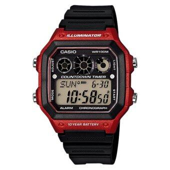 Casio Standard นาฬิกา Digital AE-1300WH-4AV (Black-Red)