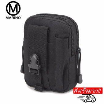 Marino กระเป๋าร้อยเข็มขัด กระเป๋าคาดเอวสีดำ No.0218 - Blcak