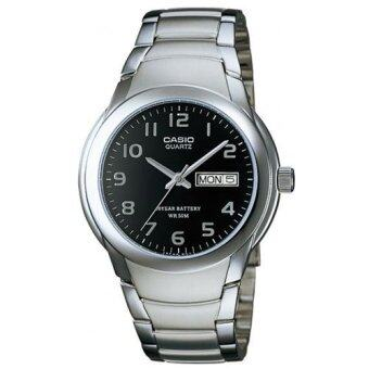 Casio Standard นาฬิกาข้อมือผู้ชาย สีดำ/เงิน สายสแตนเลส รุ่น MTP-1229D-1AVDF