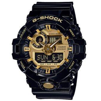 Casio G-Shock นาฬิกาข้อมือผู้ชาย สายเรซิ่น รุ่น GA-710GB-1A - สีดำ/ทอง