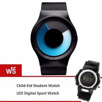 MEGA Concept Unisex Simple Fashion Watch Dial Changing Stainless Mesh Watchband แนวคิดหนุ่มสาวง่ายแฟชั่น นาฬิกาข้อมือ สายนาฬิกาข้อมือสแตนเลสตาข่าย รุ่น MG0028 (Gray/Blue)(ฟรี Fashion Colorful Kids Student Sport Watch Black)
