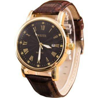 MEGA Quartz Waterproof Calendar Wristwatch หรูหรานาฬิกาข้อมือ สายหนัง กันน้ำ รุ่น MG0007 (Brown/Black)