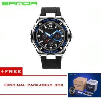ซานดา 2016 ใหม่นาฬิกาแบรนด์กีฬา Men Fashion led นาฬิกาสไตล์จีทหารทัพนาฬิกาข้อมือกันน้ำดำตกใจ Reloj Hombre733 (สีน้ำเงิน) [ซื้อ 1 ได้ 1 อิสระ]