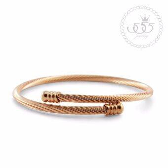 555jewelry กำไลข้อมือสำหรับสุภาพสตรี รุ่น MNC-BG156-C - Pink Gold (BG24)