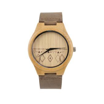 Allwin นาฬิกาโบราณนาฬิกาผู้หญิงสองคนผ่านไม้นาฬิการูปแบบขนมเปียกปูนสีน้ำตาล