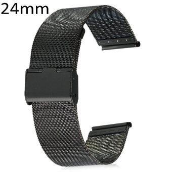 24มม.ผู้ชายผู้หญิงตาข่ายรัดสเตนเลสพับเข็มกลัดนาฬิกากับสร้อยข้อมือด้าน