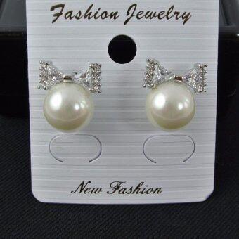 Pearl Jewelry ต่างหูมุกแก้ว โบว์คริสตัล ขาว EP01