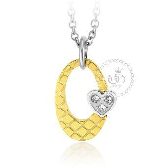 555jewelry จี้ พร้อมสร้อย ประดับ CZ และหัวใจดวงเล็กน่ารัก รุ่น MNP-105G-B (สี ทอง-สตีลเงิน) จี้พร้อมสร้อยคอ จี้ผู้หญิง