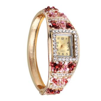 หญิงสาวแต่งตัวสีสันดอกไม้ชุบนาฬิกาสร้อยข้อมือนาฬิกาควอทซ์เลขที่ 6