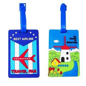 แท็กกระเป๋าเดินทางลายท่องเที่ยว (สีน้ำเงิน) 2ชิ้น