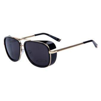 IRON MAN 3 ท่านมัทสึดะ TONY แว่นตากันแดดยี่ห้อแบรนด์เนม mirror สตีมพังก์ผู้ชายแว่นตาแว่นกันแดดวินเทจ B1 031 อะ 05 (ทองกรอบสีดำเลนส์)