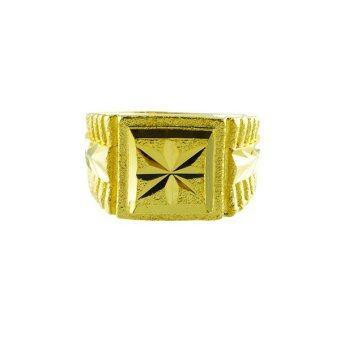 Tfine แหวนชายหน้าสี่่่เหลี่ยมตัดลายชุบทองไมครอน