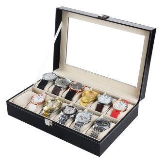 Oscar Watch Box กล่องนาฬิกา 10 เรือน ฝากระจก กล่องพลาสติกใส กล่องพลาสติก กล่องนาฬิกา นาฬิกาแบรนด์ สีดำ
