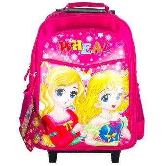 Wheal กระเป๋าเป้มีล้อลากสำหรับเด็ก เป้สะพายหลังกระเป๋านักเรียน 16 นิ้ว รุ่น Princess 87416 (Pink)