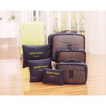 meet กระเป๋าจัดระเบียบเสื้อผ้า สำหรับเดินทาง เซ็ท 6 ชิ้น Organizing Bag Set 6 PCS Travel Bag Luggage Blue
