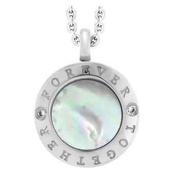 555jewelry จี้วงกลม ประดับด้วย CZ สีขาวด้านข้าง รุ่น MNC-P636-A ( สี Steel )