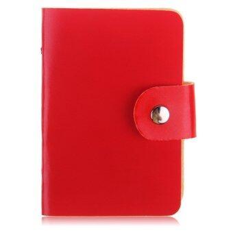 24 ช่องธุรกิจบัตรเครดิตกระเป๋าสตางค์กระเป๋าถือประจำตัวสะพายกล่องเคสผู้หญิงคนดำแดง