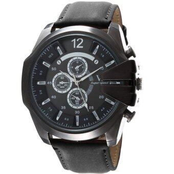 MEGA Luxury Quartz Waterproof Leather Watchband Outdoor Fashion Analog Wristwatch หรูหรานาฬิกาข้อมือ สายหนัง กันน้ำ รุ่น MG0018 (Black/Black)
