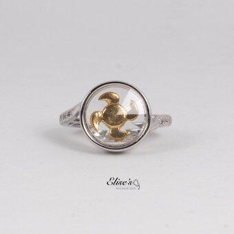 Elise's แหวนกังหันประดับเพชรด้านข้าง ทรงกลม โรเดียมชุบทองคำขาว