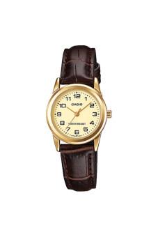 Casio Standard นาฬิกาข้อมือผู้หญิง สายหนัง รุ่น LTP-V001GL-9BUDF - หน้าทอง