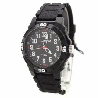 Submariner นาฬิกาข้อมือชาย-หญิงและเด็ก สายยางดำ หน้าปัดดำระบบเข็ม S-G01