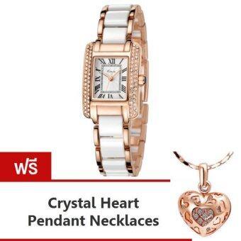 Kimio นาฬิกาข้อมือผู้หญิง สีขาว/พิงค์โกล์ด สาย Alloy รุ่น KW6036 แถมฟรี สร้อยคอพร้อมจี้ Crystal Heart Pendent Necklaces มูลค่า 299-